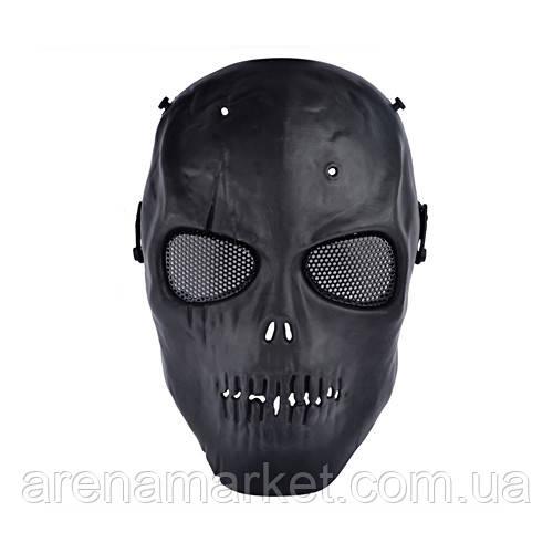 Повна захисна маска для гри в страйкбол - череп зі шрамом - чорний