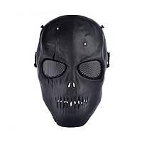 Повна захисна маска для гри в страйкбол - череп зі шрамом - чорний, фото 1