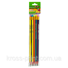 Карандаш графитовый RAINBOW HB, с ластиком, блистер по 5 шт, KIDS Line