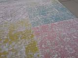 Килим з бавовни бірюзово-блакитний з рожевим і жовто лимонним кольором, фото 2