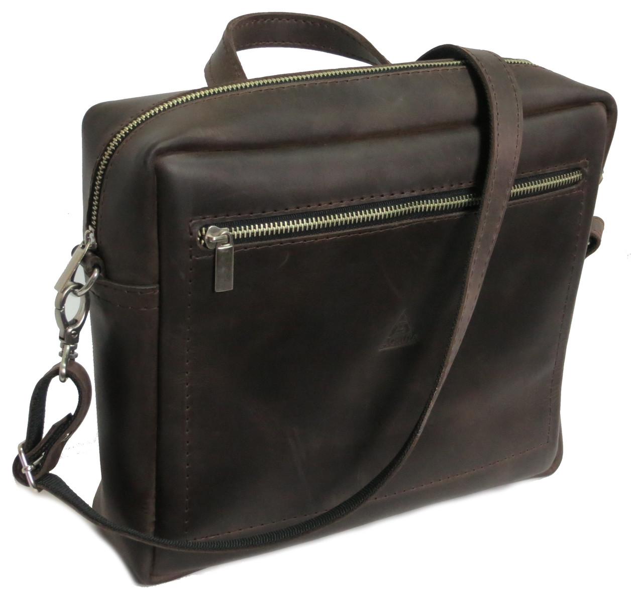 Чоловіча шкіряна сумка на плече Agruz 72996 коричнева