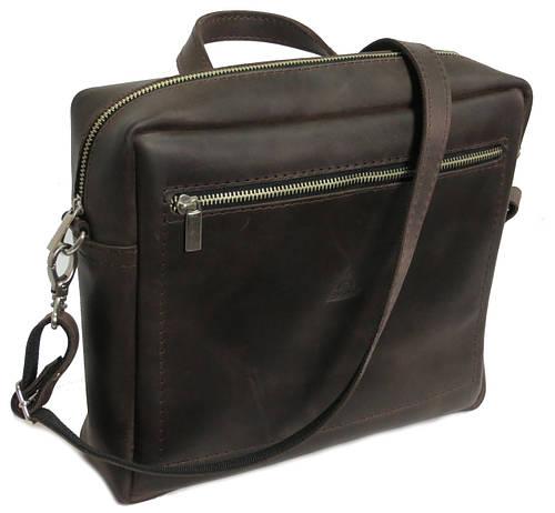 Небольшая мужская кожаная сумка на плечо Agruz 72996 коричневая Размеры: 29х24х8 см.