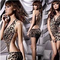Сексуальное эротическое леопардовое платье