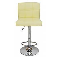 Барный стул Bonro B-628 высокий для барной стойки Кожаное барное кресло Стильное со спинкой для кухни Бежевый