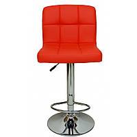 Барный стул Bonro 628 высокий для барной стойки Кожаное барное кресло Стильное со спинкой для кухни Красный