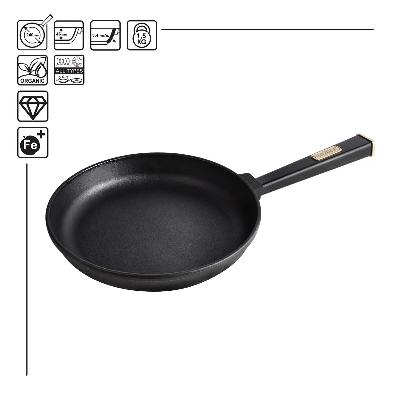 Чугунная сковорода Brizoll Бризоль с ручкой Optima-black 240х40 мм диаметр 24 см 1,93 кг O2440-P1