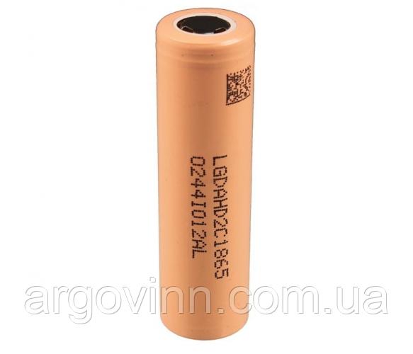 Акумулятор 18650 Li-Ion LG LGDAHD2C1865, 2100 mAh, 25A, 4.2/3.7/2.5V, BEIGE, PVC BOX