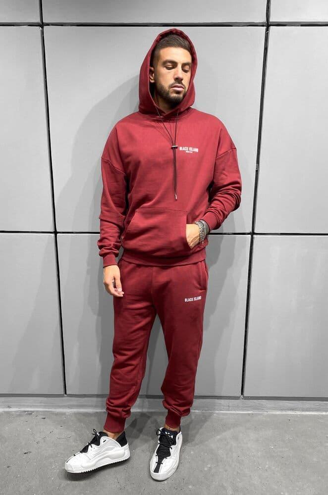 Спортивный костюм - Мужской спортивный костюм Black Island / чоловічий спортивний костюм червоний оверсайз