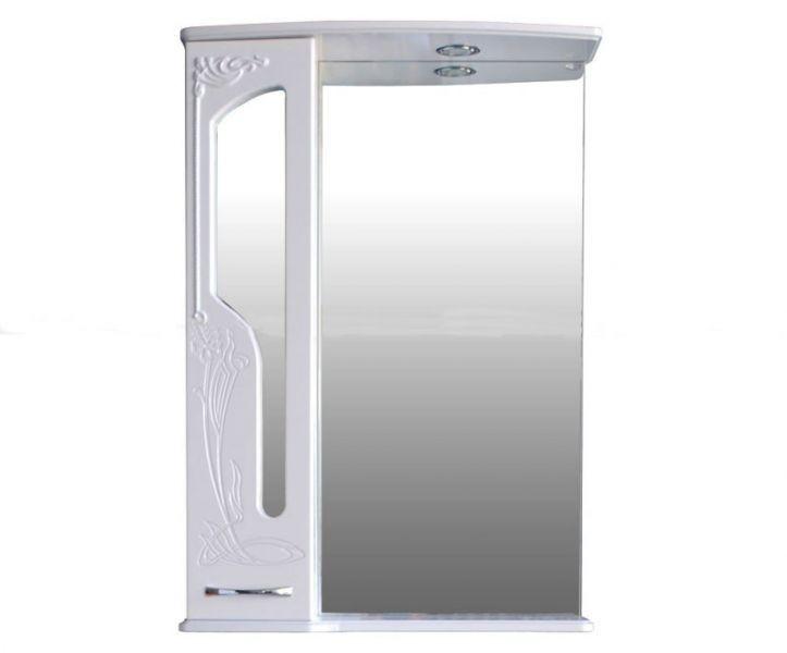 Шкаф зеркальный Атолл Барселона 65 (белый глянец), 650х195х950 мм