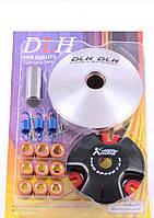"""Вариатор передний (тюнинг)   Yamaha JOG 50   """"DLH""""   (d-13mm, рол. латунь 9шт, палец, пр. сцепления)"""