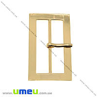 Пряжка металлическая прямоугольная, 50х30 мм, Золотая, 1 шт (SEW-013887)