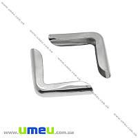 Уголок для блокнота, Темное серебро, 15х15х2,9 мм, 1 шт (OSN-013868)