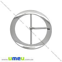Пряжка металлическая круглая, 66 мм, Темное серебро, 1 шт (SEW-013876)