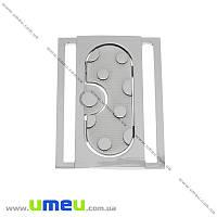 Пряжка металлическая разъемная, 67х50 мм, Темное серебро, 1 шт (SEW-013884)