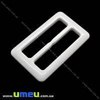 Пряжка пластиковая прямоугольная, 73х44 мм, Белая перламутровая, 1 шт (SEW-013889)