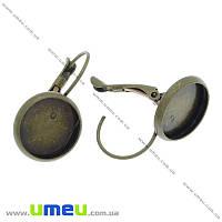 Швензы под кабошон 12 мм, Античная бронза, 25х14 мм, 2 шт. (OSN-004912)