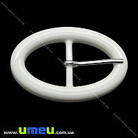 Пряжка пластиковая овальная, 73х50 мм, Белая, 1 шт (SEW-013892)
