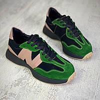 Жіночі кросівки з натурального замша і шкіри 36-40 р зелений+чорний, фото 1