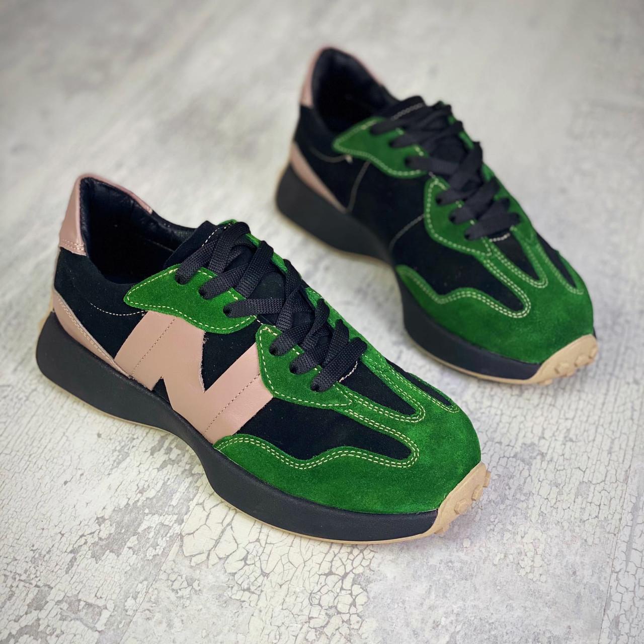 Жіночі кросівки з натурального замша і шкіри 36-40 р зелений+чорний