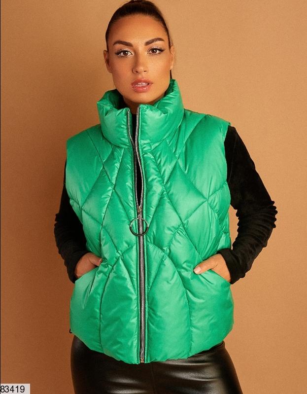 Зелена жіноча жилетка великий розмір: 46-48, 50-52, 54
