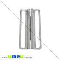 Пряжка металлическая разъемная, 65х31 мм, Темное серебро, 1 шт (SEW-013883)