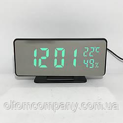Часы настольные с зелеными цифрами зеркальные 888-Y с температурой и влажностью