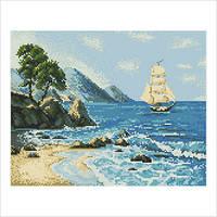 """Схема для вышивки бисером """"Морской пейзаж"""""""