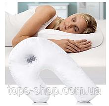 Подушка ортопедическая Side Sleeper White, Эргономичная ортопедическая подушка для сна с отверстие для уха