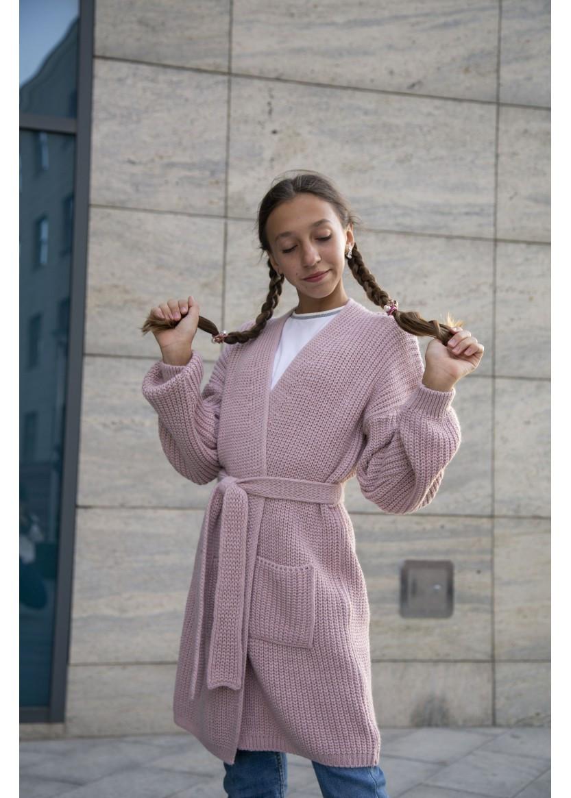Вязаный объемный кардиган для девочки Ириска рост 122-140 см