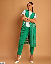 Женский брючный костюм-тройка зеленый большого размера 50.52.54.56, фото 3