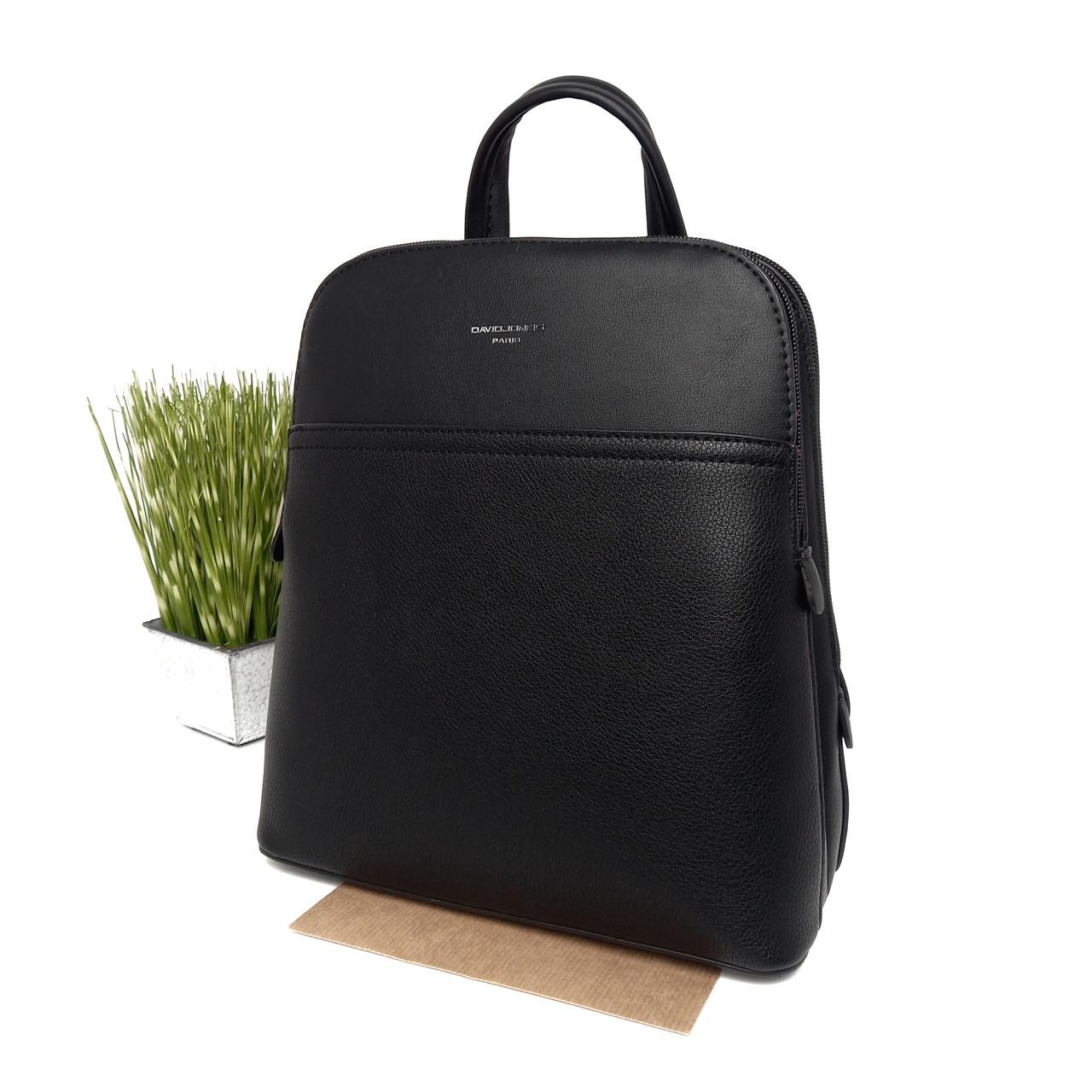 Жіночий рюкзак штучна шкіра чорний Арт.6221-2T black DavidJones Франція