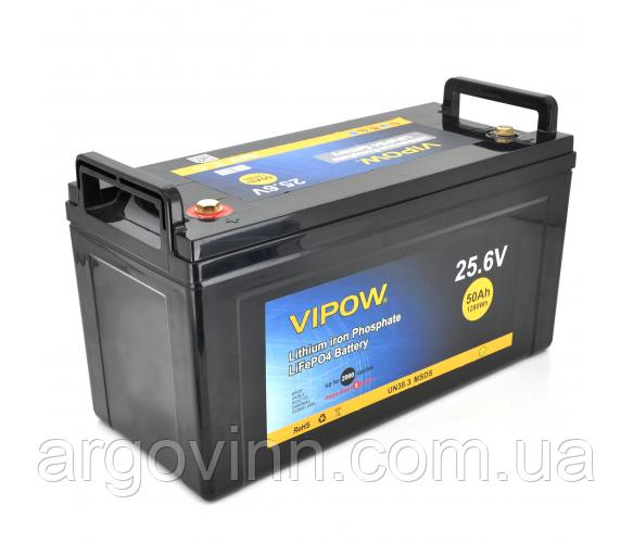 Акумуляторна батарея Vipow LiFePO4 25,6 V 50Ah з вбудованою ВМЅ платою 40A