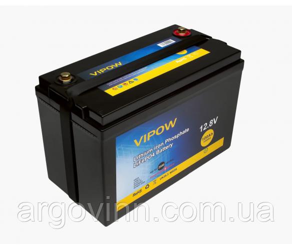 Акумуляторна батарея Vipow LiFePO4 12,8 V 100Ah з вбудованою ВМЅ платою 80A