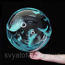 """Надувной шар Bubbles прозрачный перья голубые 18""""(45см)  Китай"""