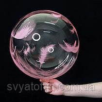 """Надувной шар Bubbles прозрачный перья розовые 18""""(45см)  Китай"""
