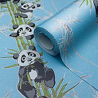 Детские яркие обои для мальчиков LS Панды Декор голубой ДХН-1427/5 (1,06х10,05м)