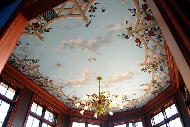 Поклейка обоев пробковых, фотообои, 3-D обои (потолок)