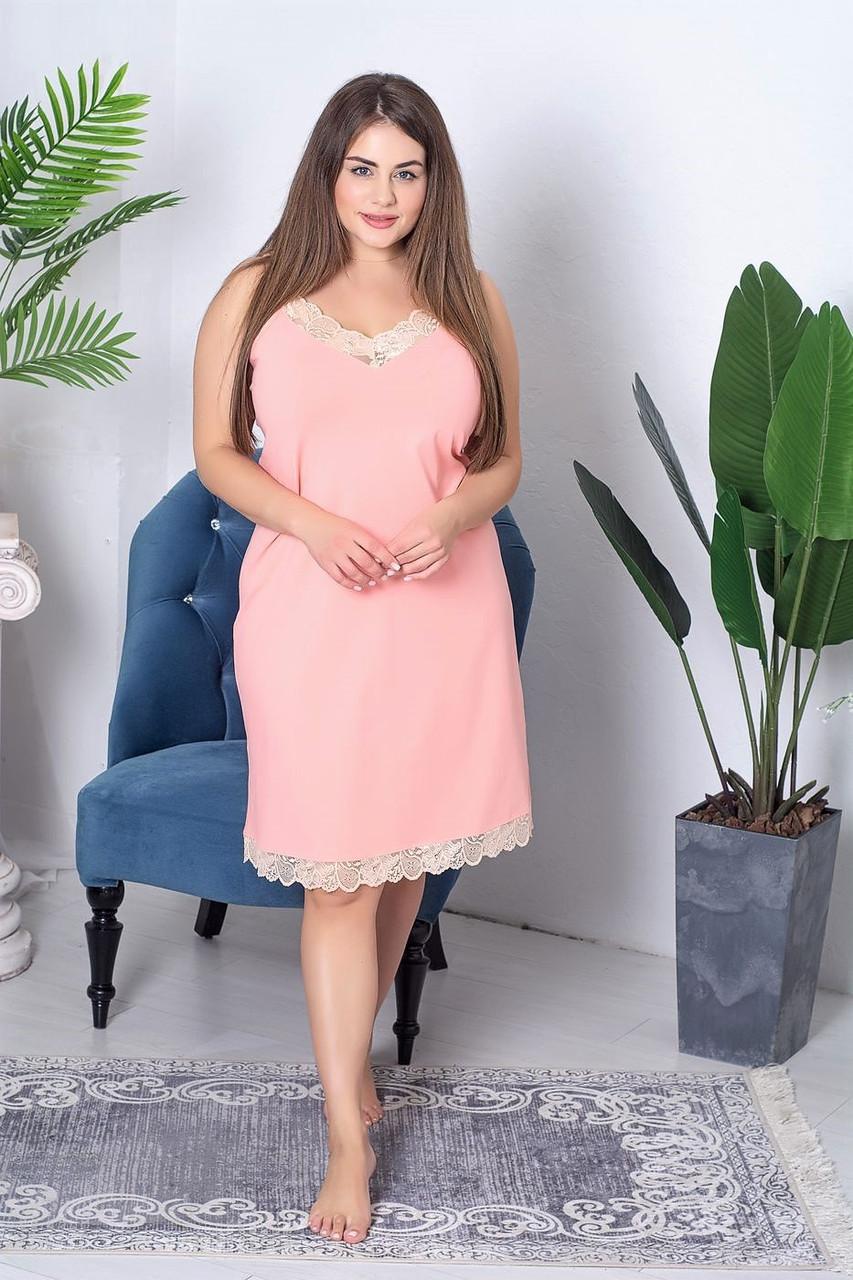 Жіноча сорочка на тонких бретельках ХХL Нп1111 Персиковий