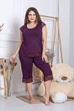 Жіноча піжама з мереживом великі розміри XXL+ Пс1113 Сливовий, фото 2