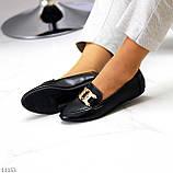 Универсальные комфортные черные женские мокасины с декором цепь 38-24см, фото 3