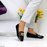 Универсальные комфортные черные женские мокасины с декором цепь 38-24см, фото 4