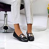 Универсальные комфортные черные женские мокасины с декором цепь 38-24см, фото 5