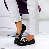 Универсальные комфортные черные женские мокасины с декором цепь 38-24см, фото 6