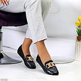 Универсальные комфортные черные женские мокасины с декором цепь 38-24см, фото 7