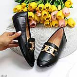 Универсальные комфортные черные женские мокасины с декором цепь 38-24см, фото 8