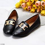 Универсальные комфортные черные женские мокасины с декором цепь 38-24см, фото 9