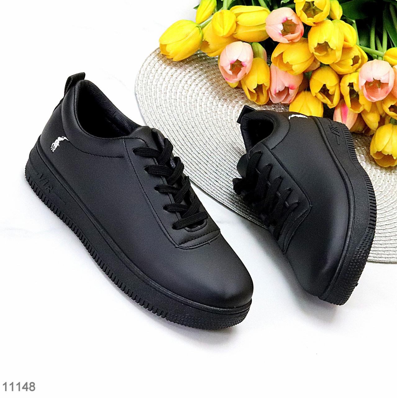 Молодіжні чорні жіночі повсякденні кросівки під джинси 39-25,5 см