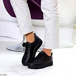 Молодіжні чорні жіночі повсякденні кросівки під джинси 39-25,5 см, фото 8