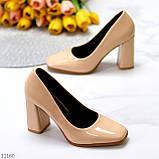 Світлі нюдовые персикові бежеві лакові глянцеві жіночі туфлі 37-24 38-24,5 см, фото 4