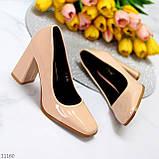 Світлі нюдовые персикові бежеві лакові глянцеві жіночі туфлі 37-24 38-24,5 см, фото 5